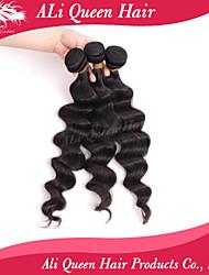 Ali Queen Hair products  6A Malaysian Virgin Hair Bouncy Wave  Natural Black Hair 3pcs/Lot 100% human hair extensions