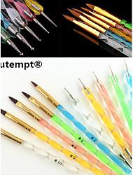 5pcs 5 Größen 2-Wege-UV Gel&Acryl Nail Art Malerei Draw Pinsel mit 5pcs 2-Wege Marbleizing Zeichenstift-Werkzeug