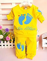 Girl's Baby Cotton Fashion Leisure Footprints Long Sleeve Clothing Set