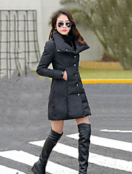 Women's Vintage/Casual/Party/Work/Plus Sizes Thick Long Sleeve Long Trench Coat Down Jacket(Feather)