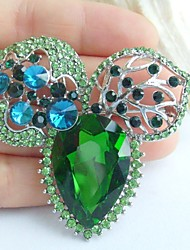 2.36 Inch Silver-tone Blue Green Rhinestone Crystal Flower Brooch Pendant Art Decorations