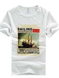 2016 summer new cotton Crewneck T-shirt male Japanese Korean t T-shirt summer clothes tide slim