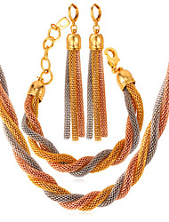Fancy 3 Tone Rope Chains Necklace Earrings Bracelet Set 18K Gold Plated 316L Stainless Steel Jewelry High Quality