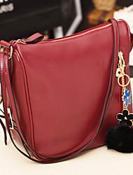 Women 's PU Barrel Shoulder Bag - Blue/Red/Black