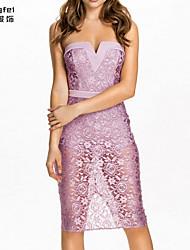 Women's Purple Dress , Sexy/Party Sleeveless