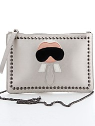 Women 's PU Envelope Clutch - Silver/Black