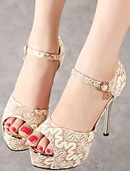 Women's Shoes Tulle Stiletto Heel Heels Sandals Casual Black/Gold