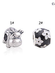 Euner® Silver Black and White Flower Enamel Charm 925 Solid Sterling Silver Charms Loose Silver Beads European Charms