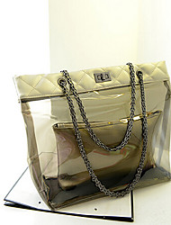 Women 's PU Weekend Bag Shoulder Bag - Gold/Silver