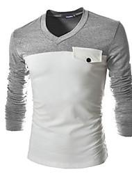 Katoen - Effen - Heren - T-shirt - Informeel/Grote maten - Lange mouw