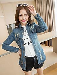 Women's Solid Blue Denim Top , Casual Shirt Collar Long Sleeve Pocket/Hole