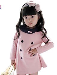 Vestido Chica deUn Color-Mezcla de Algodón-Invierno-Rosa