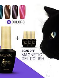 Azure 4Pcs/Lot  12ml 3D Nail UV Gel Polish  48 Colors Nail Art for Nail DIY Cat Eye Nail Gel Polish (#79+#80+#81+#82)