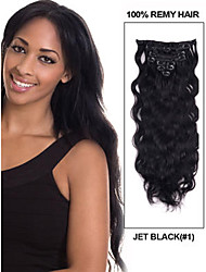 "16 ""-30"" (9pcs) / set 120g clip in Braziliaanse hair extensions clip in human hair extensions lichaam wave haar"
