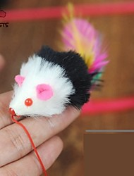 Cat Pet Toys Teaser / Feather Toy Mouse Black Textile