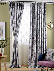 (One Panel) Double Pleated Classic Solid Italy Flower Room Darkening Fabric Curtain Drapes