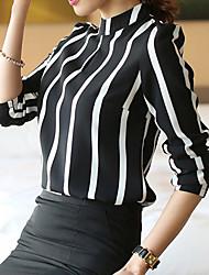 Mulheres Camiseta Colarinho Chinês Manga Longa Misto de Algodão Mulheres