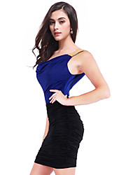 Women's Party/Cocktail Sexy Plus Size Dress,Color Block Mini Sleeveless Blue / Red / Green Cotton / Polyester / Spandex All Seasons