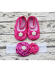 New Baby Girls Flower Shoes with Rhinestone and Match Headband Infant First Walkers Shoes Princess Dance 1 pair