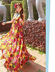 Bohemian Chiffon Dress Harness Backless Dress Warm Orange