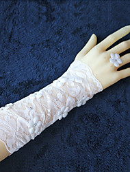 Lace Applique Elbow Length Fingerless Wedding Gloves with Rhinestones