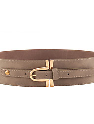 RICHCOCO® Women's Casual Elastic Cord Shiny Gold Buckle PU Wide Belt