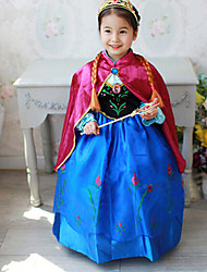 Cosplay Costumes Party Costume Princess Fairytale Festival/Holiday Halloween Costumes Blue Patchwork Dress ShawlHalloween Christmas