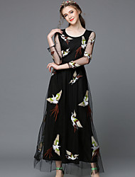 Autumn Embroidery Vintage Style Plus Size Women Clothing See Through GauzeLong Sleeve Luxury Party/Casual Long Dresses