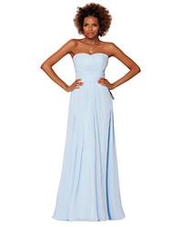 Vestido - Azul de céu claro Festa Formal Tubo/Coluna Sem Alça Longo Chiffon