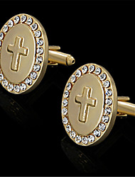 Men's RhinesTone Cross Crucifix Oval Golden Shirt Wedding Cufflinks