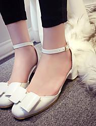 Zapatos de mujer Semicuero Tacón Robusto Punta Abierta Sandalias Casual Rosa/Blanco/Gris