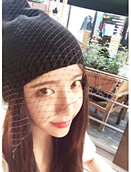 Women Vintage Gauze Veil Knitted  Hat England Wind