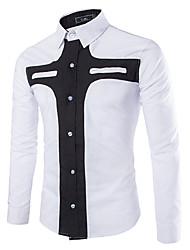 Men's Casual/Work Long Sleeve Regular Shirt (Cotton)