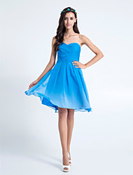 Lanting Bride Knee-length Chiffon Bridesmaid Dress - Color Gradient A-line Sweetheart Plus Size / Petite with Criss Cross