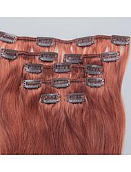 15 pulgadas 7pcs / clip de 70g en extensiones de cabello humano brasileño recto sedoso # 30 castaño luz