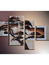 Hand-Painted Wall Art Landscape Tree Oil Painting on Canvas  4pcs/set No Frame