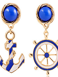MPL Fashion texture of blue and white navy anchor Earrings