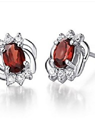 Flammable Volcanic High-end Natural Garnet Red Wine Eardrop SE0001G Crystal Stud Earrings Earrings