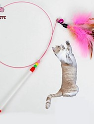Cat Pet Toys Teaser / Feather Toy Bell Pink Textile
