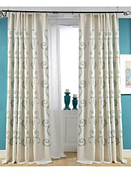 (One Panel)Double Pleated Dark Green Roll Cloud Cotton And Linen Blend Embroidery Fabric Curtain Drapes
