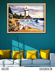 DIY Digital Oil Painting  Large Size Without Frame  Family Fun Painting All By Myself     Beach Lighthouse 6038