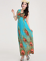 Women's Beach Party Micro Elastic Sleeveless Maxi Dress (Silk)