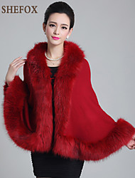 Women's Autumn And Winter Knitted Larget Size Cape Fur Shawl