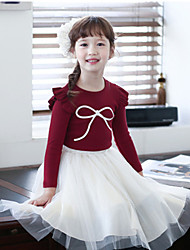 Girl's Cotton/Polyester Fashion Leisure Bowknot Long Sleeve Tee