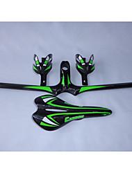 HB14+SA10+BC1004 Neasty Brand Full Carbon Fiber Mtb Bike Stem Handlebar Saddle Cage Group Green Color