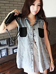 Women's Vintage/Casual Denim Vest Lace Patchwork Sleeveless Asymmetrical Regular  Top