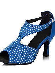 Non Customizable Women's Dance Shoes Salsa Flocking Flared Heel