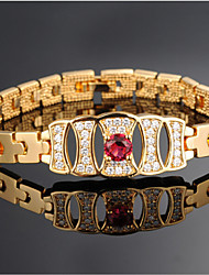 Women's 18K Gold Plated Chain With Cubic Zirconia Bracelet