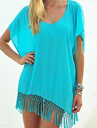 Women's Solid Blue/Red/White Blouse , Round Neck/V Neck Short Sleeve Tassel