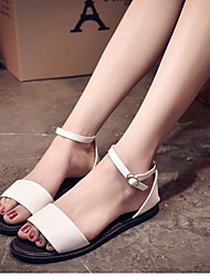 Women's Shoes Black/White Flat Heel Sandals (Rubber)